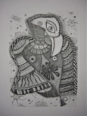 「宙を舞う鳥」 サイズ29×21cm 銅版画/紙