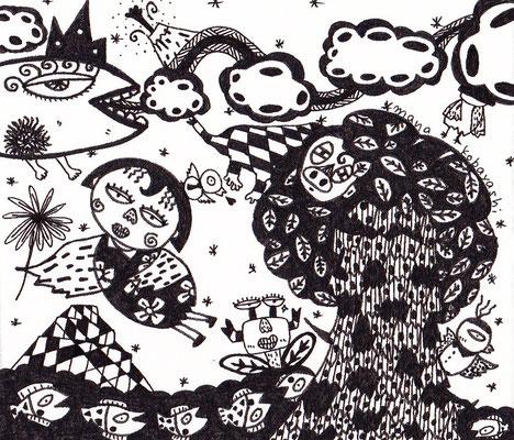 「まな蔵遊び」 サイズ7×8cm ペン画/紙