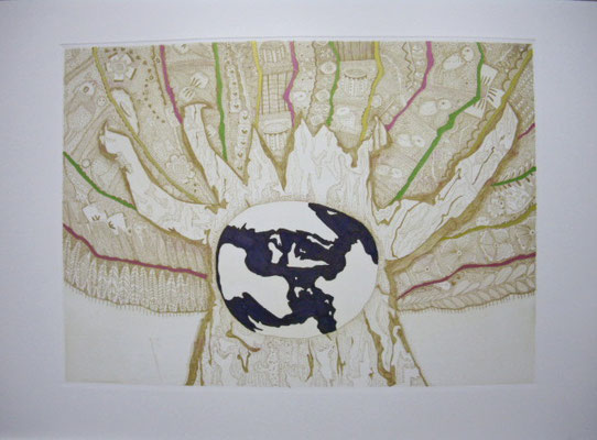 「生命樹-blue」 サイズ21×29cm 銅版画・手彩色/紙