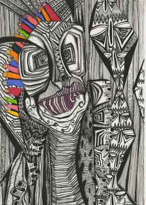 「踊るマハラジャ」 サイズ29×21cm ペン画/紙