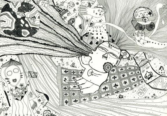「虹神様仕事中」のモノクロ サイズ205×297mm  銅版画/紙