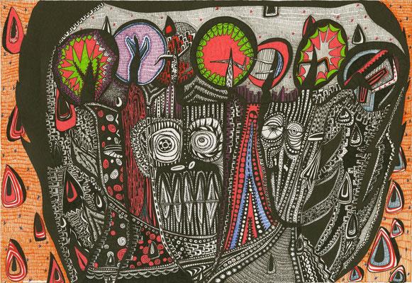 「大木に宿り」 サイズ21×29cm ペン画/紙