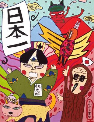 「桃太郎」 サイズ:6号 アクリル絵の具/キャンバス