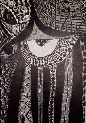 「見守る」 サイズ103×72cm ペン画/パネル
