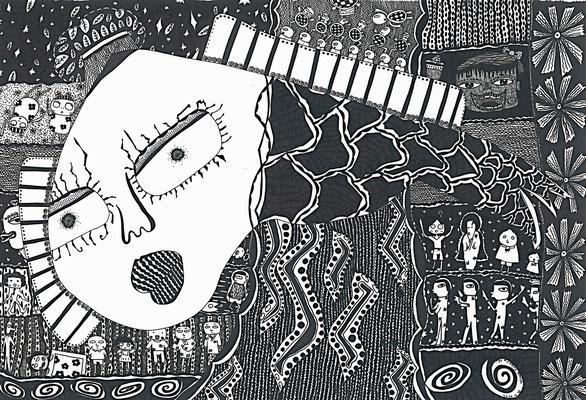 「妖怪」 サイズ20×29.5cm ペン画/紙