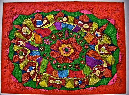 「せっせと虹噴射」 サイズ16×20.8cm 銅版画・手彩色/紙
