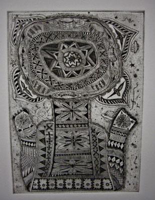 「宇宙華」 サイズ29×21cm 銅版画/紙