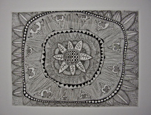 「祈り」 サイズ14.5×19.5cm 銅版画/紙