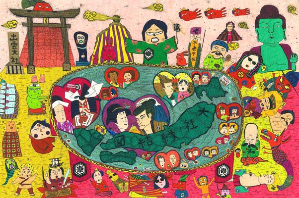 「大社縁結図」 サイズ:330×550mm 銅版画に手彩色/紙