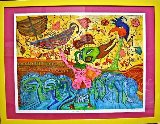「この世界は愛するもので溢れている」  サイズ44.5×60cm 銅版画・手彩色/紙