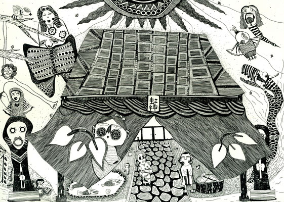 「虹神神社」のモノクロ サイズ213×297mm  銅版画/紙