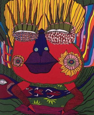 「笑之神様」 サイズ:15号 アクリル絵の具/キャンバス