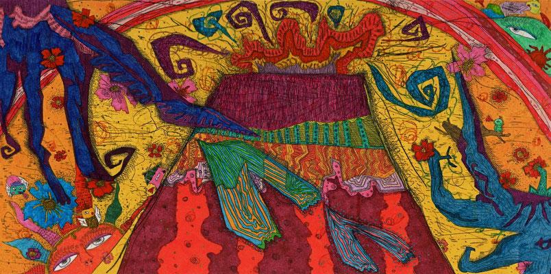 「晴れた日の気分」 サイズ12.5×24.5cm 銅版画・手彩色/紙