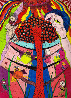 「もののけの樹」 サイズ:200×145mm 銅版画に手彩色/紙