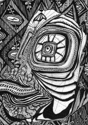 「吐き気に似た思い」 サイズ21×14.5cm ペン画・紙