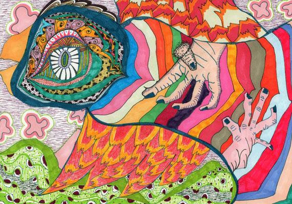 「世界へ飛行!」 サイズ14.5×21cm ペン画/紙