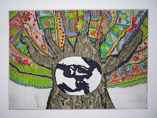「生命樹」 サイズ21×29cm 銅版画・手彩色/紙
