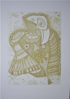 「包み込む」 サイズ29×21cm 銅版画/紙