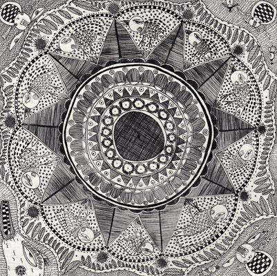「平らな華」 サイズ15×15cm 銅版画/紙/ed10
