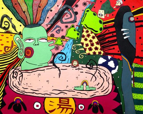 「湯につかる虹神様」 サイズ:30号・727×910cm  アクリル絵の具/キャンバス