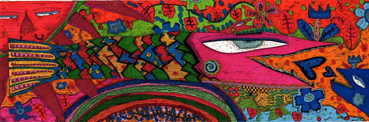 「ささやかな愛を願ってる」 サイズ8×25cm 銅版画・手彩色/紙