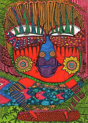 「笑いの神」 サイズ15×10.5cm 銅版画・手彩色/紙