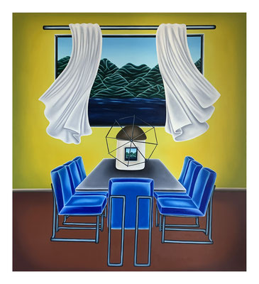 Can I Have a Seat ?, 160 x 140 cm, Oil on linen, 2021
