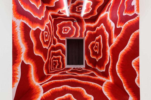 On peut disparaître ici sans même s'en apercevoir, 2017, Wall painting, ©Photo Blaise Adilon - Institute of Contemporary Art - Villeurbanne - International Biennale of Contemporary Art - Lyon, France