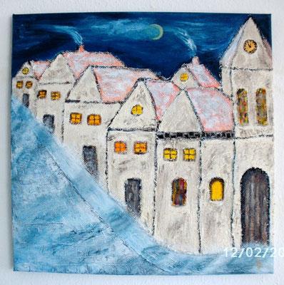 Dorf im Schlaf 40 x 40 cm