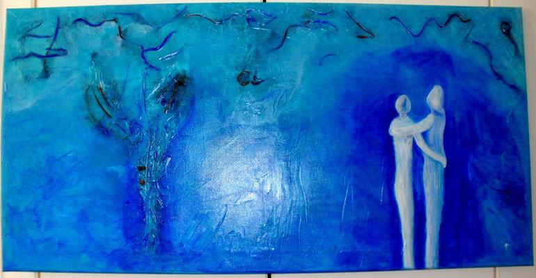 Paar in Blau 50 x 100 cm