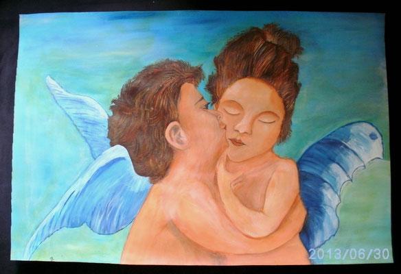 Amor und die Psyche 45 x 66 cm
