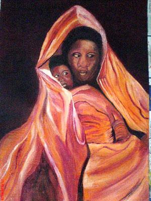 Mutter mit Kind 30 x 40 cm