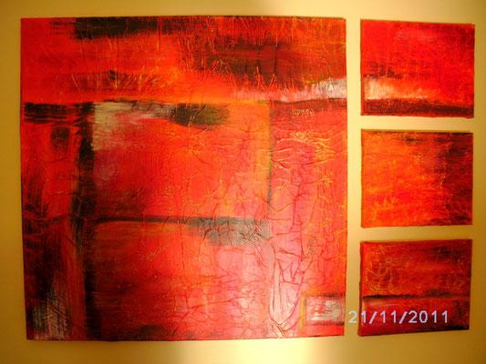 Flammendes Feuer 110 x 110 cm