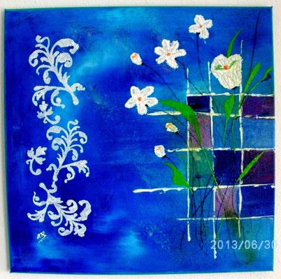 Frühlingsgruß in Blau 50 x 50 cm