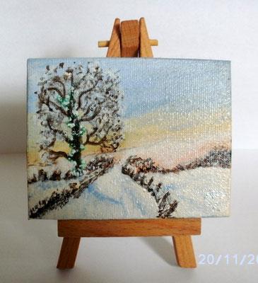 Kleine Winterlandschaft 7 x 9 cm