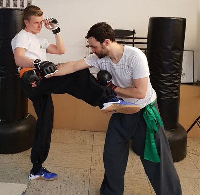 Kampftechnik mit Ziehen und Treten aus dem Mantis Kung Fu