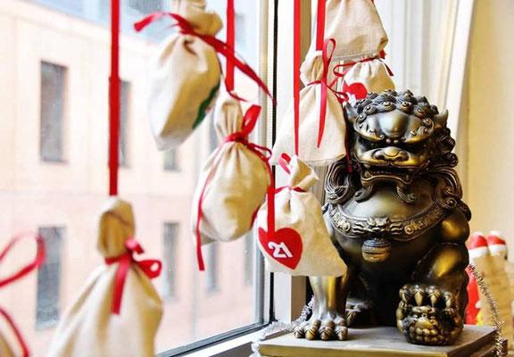Weihnachtsdekoration in der Jing Wu KUng Fu Schule Köln