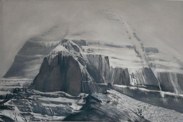 2. Kailash grau, Gouache +Acryl auf Leinwand, 60 x 90 cm, 2012
