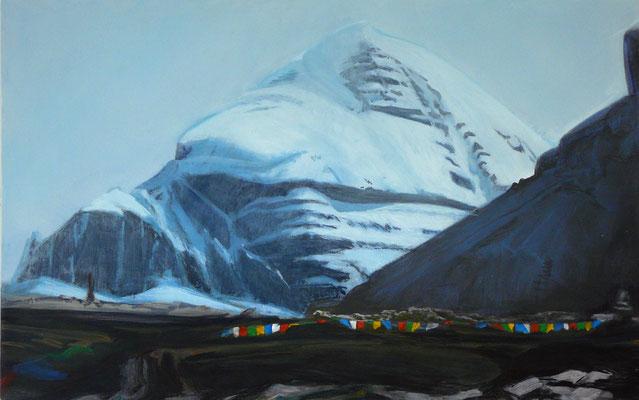 9. Kailash, früher Morgen, Gouache + Acryl auf Leinwand, 60 x 90 cm, 2016