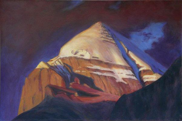 5. Kailash rot, Gouache + Acryl auf Leinwand, 60 x 90 cm 2013