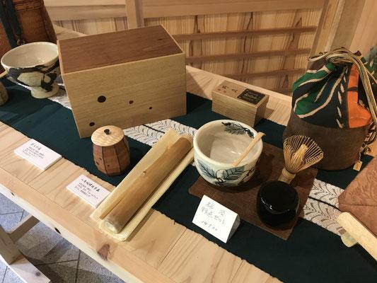 笹離宮での「名残の月~4人展」。八ヶ岳の家具工房ZEROSSOのオリジナル茶道具、展示会です。