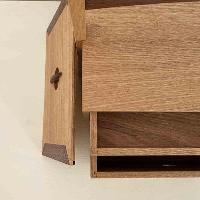 茶人の箱/おかもち・倹飩蓋。抽斗を引いて上からのぞくとこんな感じです。家具工房ZEROSSO、清水泰のオリジナル茶道具。