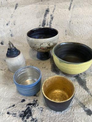 笹離宮4人展。森下真吾の陶芸作品。