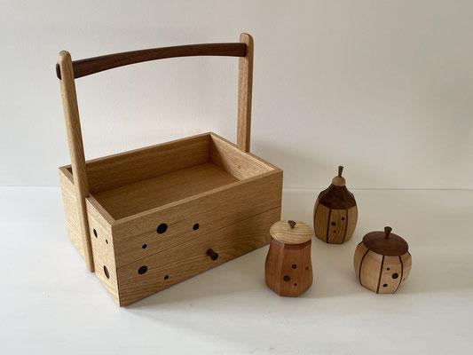 笹離宮4人展。家具工房ZEROSSO、清水泰の木工作品。