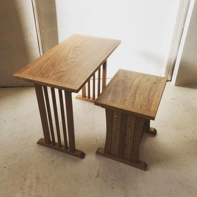 お客様用の卓と座/八ヶ岳の家具工房ZEROSSOの茶道具