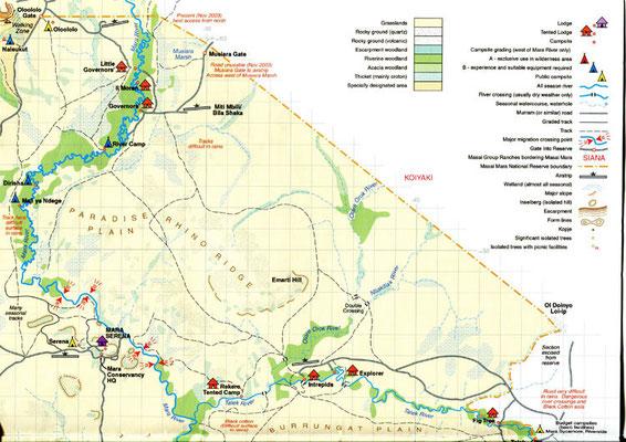 Carte le la réserve de Masaï Mara nord