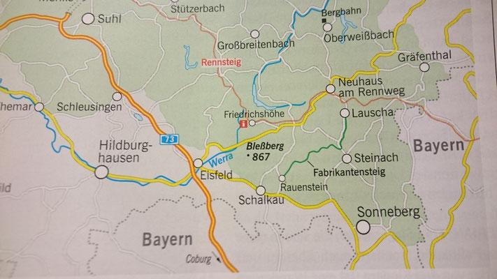 Karte, Copyright Merian Sonderheft Thüringen 9/2018