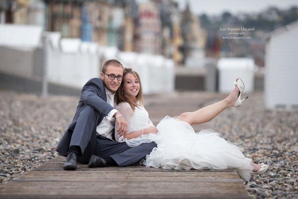 Mariage en Picardie , cabines de plage de Mers les Bains