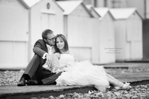 Mariage d'Hélène et Fabien Séance day after cabines de plage