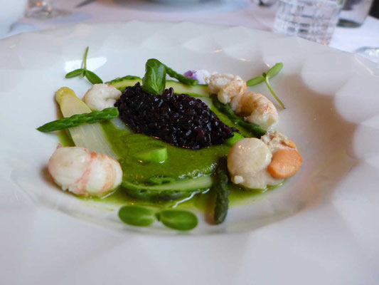 Schwarzer Wildreis mit Wildspargel, Scampi, Jakobsmuschel Ragout (geteilter Hauptgang) Restaurant Peteani